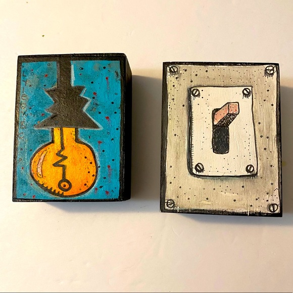 Lightbulb and Switch acrylic & ink on wood art set